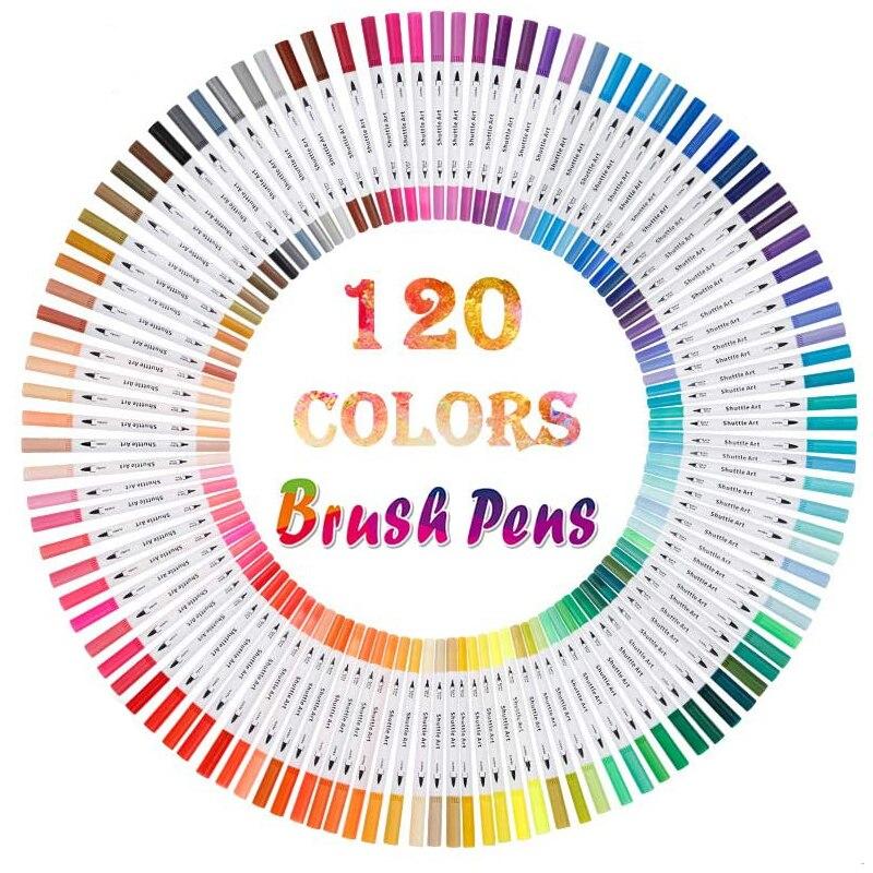120 Colors Dual Tip Brush Art Marker Pens Fineliner Brush Markers Set For Artist Calligraphy Lettering Journal Doodling Writing