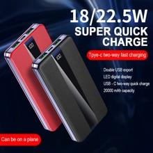 Power-Bank Battery-Charger iPhone Xiaomi 20000mah Portable for Huawei External 18w/22.5w