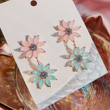MENGJIQIAO New Arrival Korean Colorful Crystal Double Flowers Drop Earrings For Women Fashion Brincos Jewelry Ear Accessories