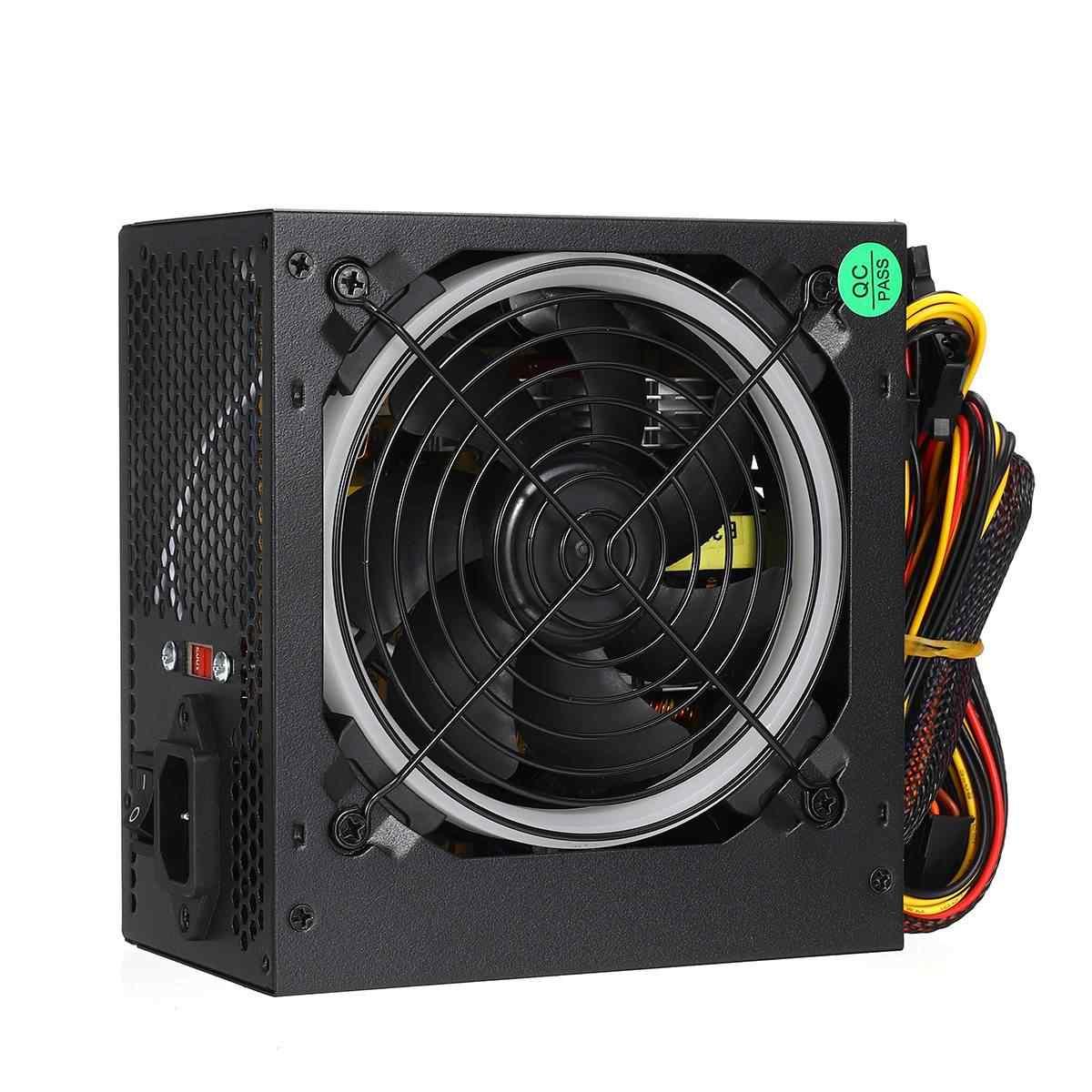 600W zasilacz 12cm wielokolorowe oświetlenie led wentylator rgb 24 Pin PCI SATA 12V zasilacz do komputera pulpitu do gier zasilania