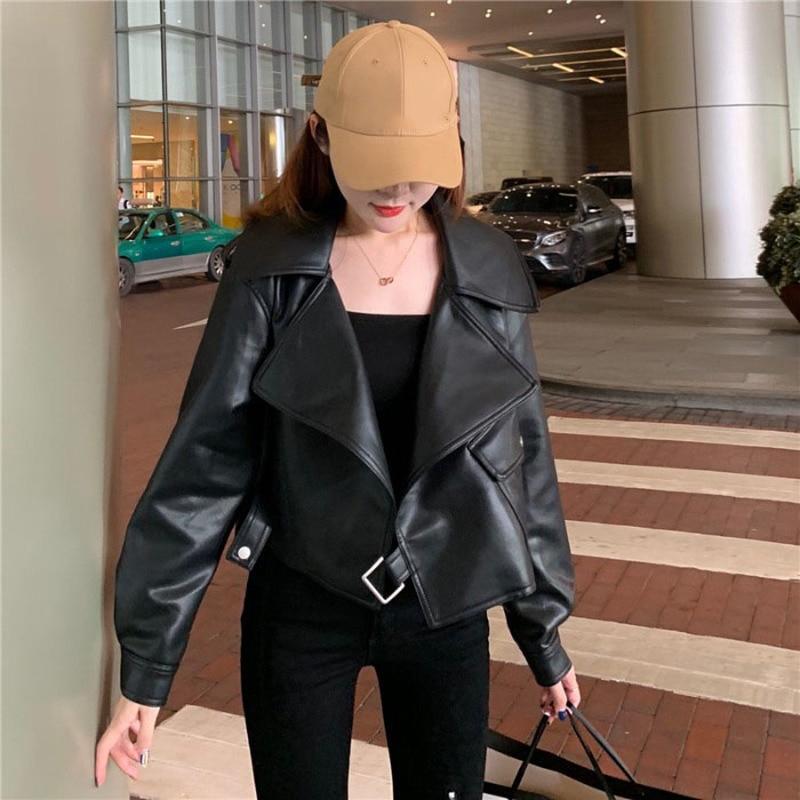 Short Long Sleeve Slim Leather Jacket Women Loose Designer Thin Leather Moto Jacket 2021 Spring Outerwear Korean Coat Chic Tops