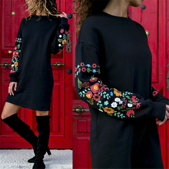Women's Long Sleeve Dress Autumn Winter 5XL O-Neck Printed Black Casual Loose Dress 2020 Elegant Party Warm Dress Fashion New image