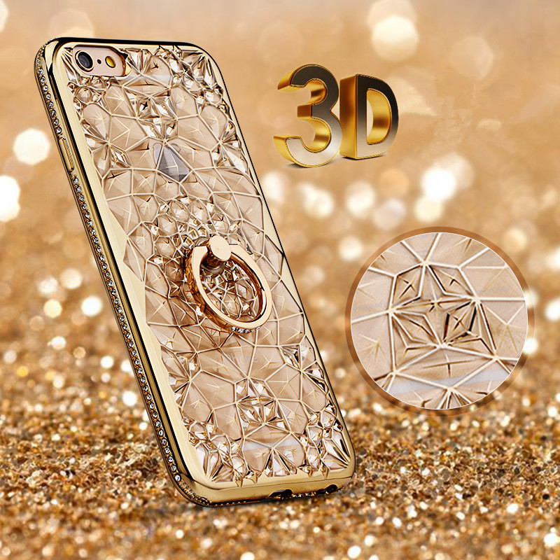 Buy 3D Diamond Ring Case For Samsung Galaxy Note 10 Plus A50 A30 A70 A10 Note 9 8 Luxury TPU A8 A6 J4 J6 J8 S10 S9 S8 S7 Edge EEMIA for only 4.55 USD