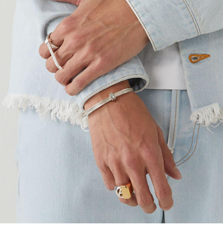 AMBUSH хип хоп простой личности 925 Серебряный легко затягивающийся браслет регулируемые персональные подарки Панк ювелирные изделия для женщин и мужчин - 3
