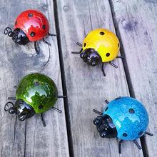 4 предмета в комплекте металлический милой божьей коровки красиво украшенные Цвет загородки сада Wall Art украшение на открытом воздухе стенны...