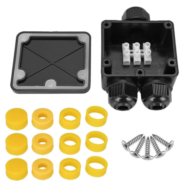 3-Way IP68 Waterproof Junction Terminal Box Distribution Cable Connector Set