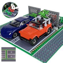 Rua da cidade vista baseplate 32*32 estrada parque de estacionamento placa base estrada blocos de construção tijolos diy brinquedos para crianças