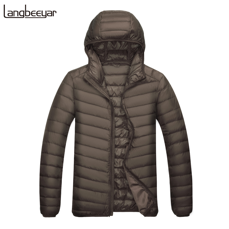 2019 Ultralight Winter 90% Duck Down Fashions Brand Packable Down Jacket Mens Streetwear Feather Coat Hooded Mens Clothing