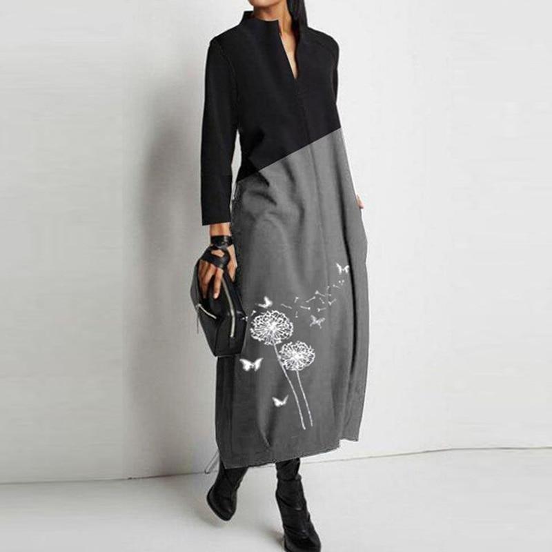 Женское платье-трапеция с принтом одуванчика, элегантное вечернее платье вечерние длинным рукавом, повседневное Свободное платье, весна-ос...