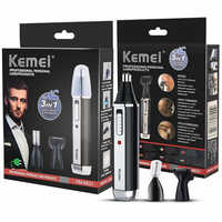 kemei 3 in1 Electric Ear Nose Trimmer for Men's Shaver Rechargeable Hair Removal Eyebrow Trimer depiladora nariz Facial CareTool
