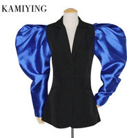 KAMIYING New Arrival Patchwork Hit Color Puff Sleeve Ruched Women's Blazers Long Sleeve Notched Female Suits 2020 Fashion