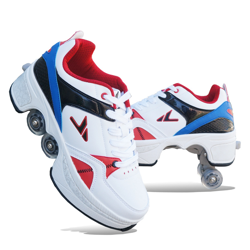 Bingzao Shoes Double Row Aerobic Walking Sneakers Summer Wheels Four-Wheel Skates Children's Hot Selling Students