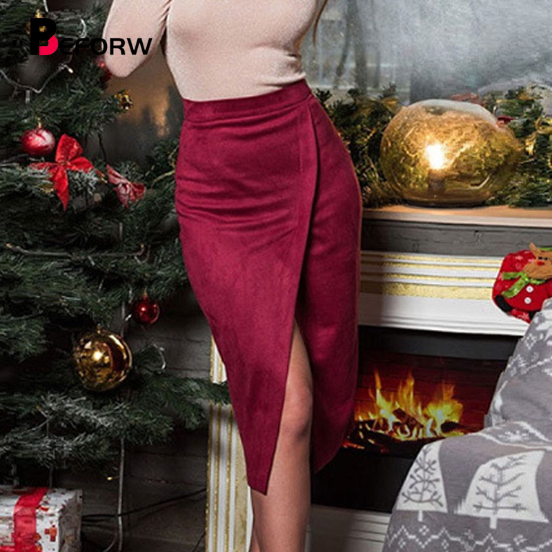 BEFORW Women Suede Sexy Split Bodycon Skirt 2020 Office High Waist Midi Pencil Skirts Womens Casual Party Skirt