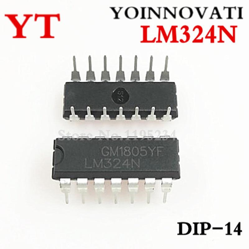 Free Shipping!  100pcs/LOT  LM324N LM324 IC OPAMP GP 1.2MHZ DIP14