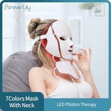 Foreverlily — Masque facial Led Photon, appareil de thérapie à la lumière avec 7 couleurs, style coréen, machine anti-acné et rajeunissement de la peau