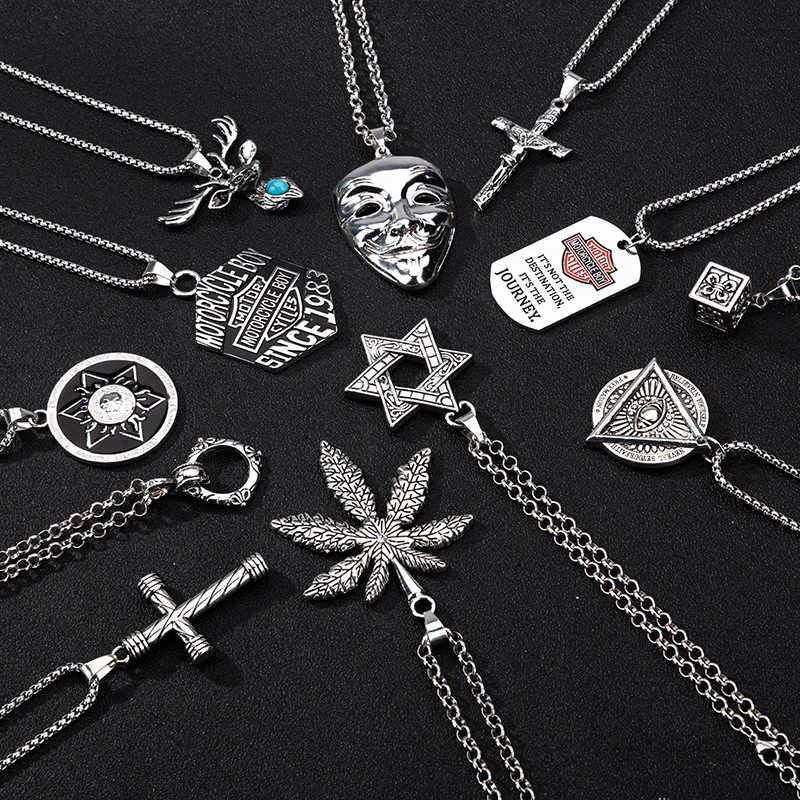2019new gorąca sprzedaż Punk mężczyźni naszyjnik łańcuch wrona wisiorek z czaszką naszyjnik Trendy biżuteria naszyjnik kobiety moda biżuteria