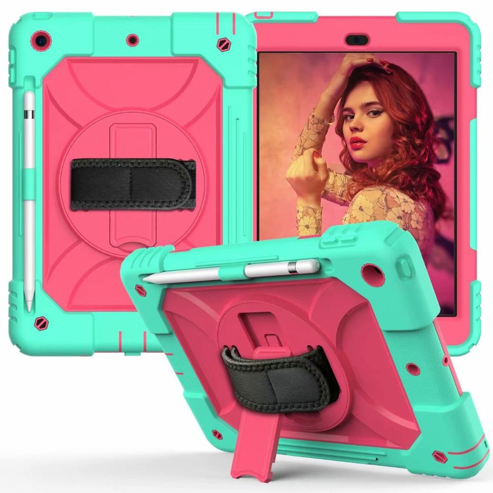 cyan rose Red For iPad 7th Generation Case 360 Rotating Stand Hand Strap Pencil Holder Cover For iPad 10