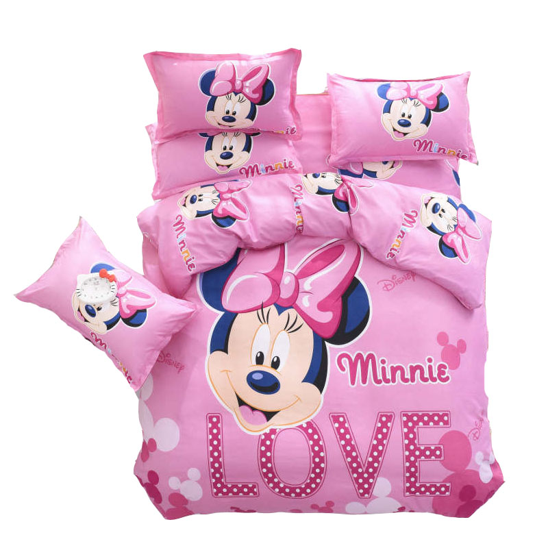 Sweet Pink Minnie Mouse Quilt Duvet Covers Twin Size Bedding Set For Girls Room Children's Bed Linens Queen Bedspreads Double 3D