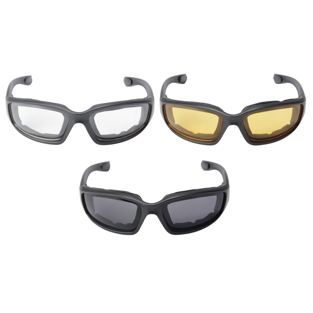 3 Pairs Motorcycle Sport Bike Riding Glasses Padded Windproof Sunglasses Motorcycle Windproof Glasses Sports Goggles