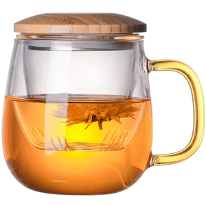 Image 5 - Borosilicate Glass Tea Infuser Mug Cup With Transparent Filter Handle Bamboo Lid Cover High Temperature Resistance Flower Teacup