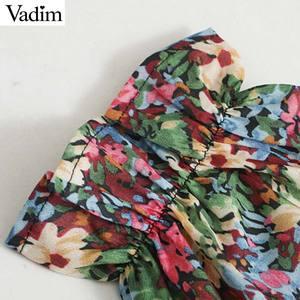 Image 3 - Vadim femmes doux motif floral mini robe côté fermeture éclair à manches longues coupe mince mignon femme casaul robes élégantes vestidos QC862