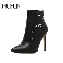 NIUFUNI Pointed Toe Rivet Ankle Boots Women Shallow Stiletto High Heels Zipper Banquet Wedding Woman Shoes Martin Boots 35-40 цена 2017