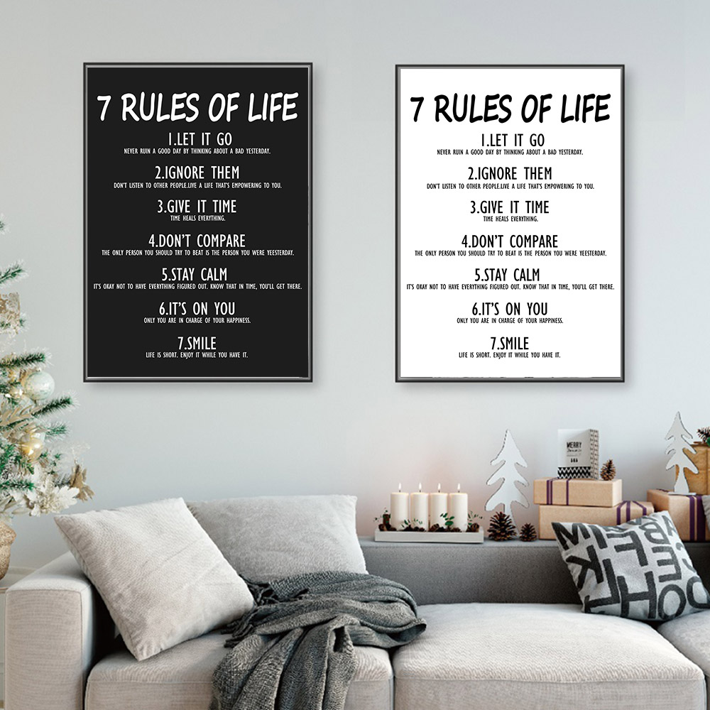 7 Rules Of Life Poster Life Quotes Canvas Painting Minimalist Black And White Wall Art Pictures Nordic Home Decor For Office image
