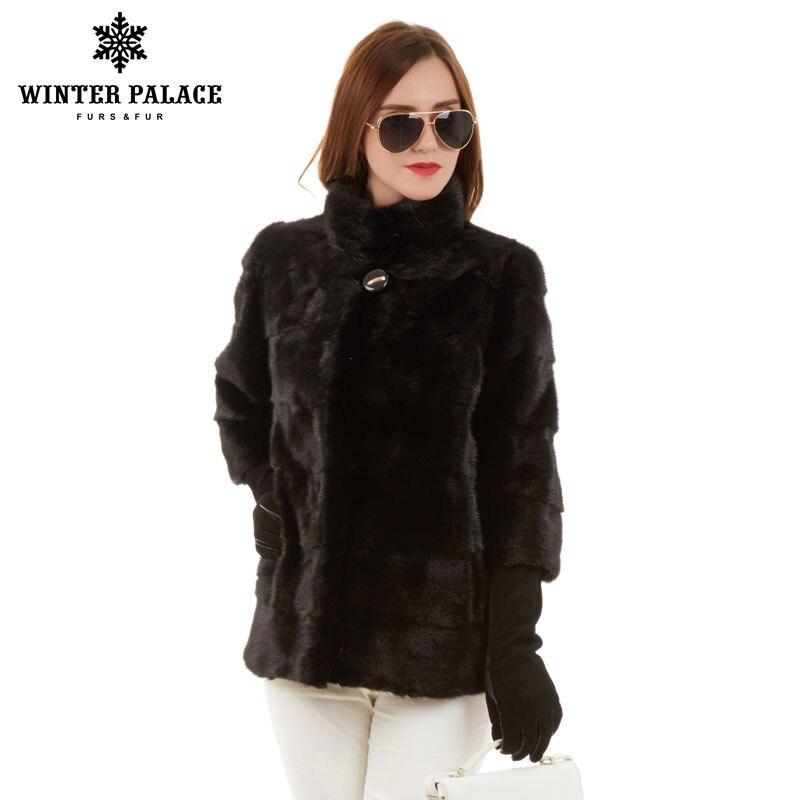 Hiver mode mince manteau de fourrure naturel vison col montant bonne qualité vison manteau de fourrure femmes naturel noir femmes vison manteau