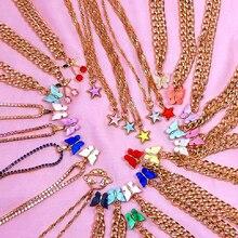 Женская акриловая цепочка flatfoosie модное ожерелье чокер из