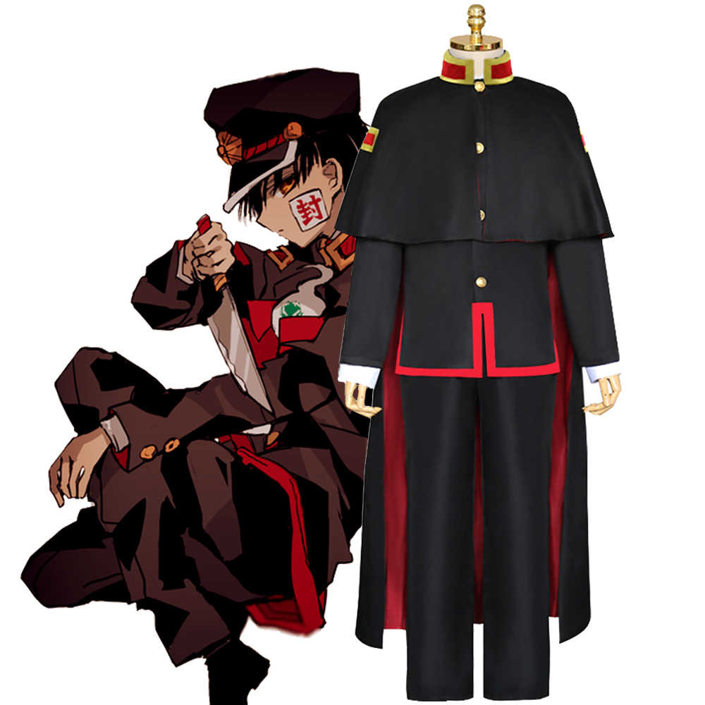Anime Jibaku Shounen Hanako kun Yugi Amane Costume Cosplay Wc legato Hanako kun Mantello Nero Full Set Uniform Parrucca Cappello