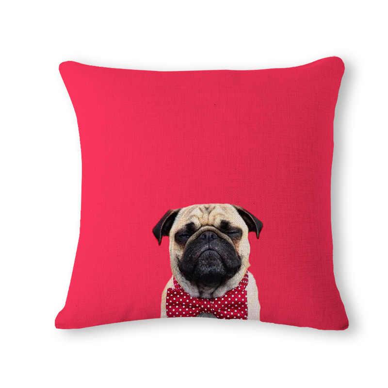 Kuning Anjing Merah Sarung Bantal Tenun Linen Keluarga Kasih Sayang Sofa Kursi Rumah Dekoratif Melempar Bantal Case Rumah De Coussin