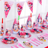 77Pc Cartoon Red Minnie Mouse Disney Baby Shower Boys Birthday Decoration Wedding Event Party Supplies Tableware Sets For 6 Kids