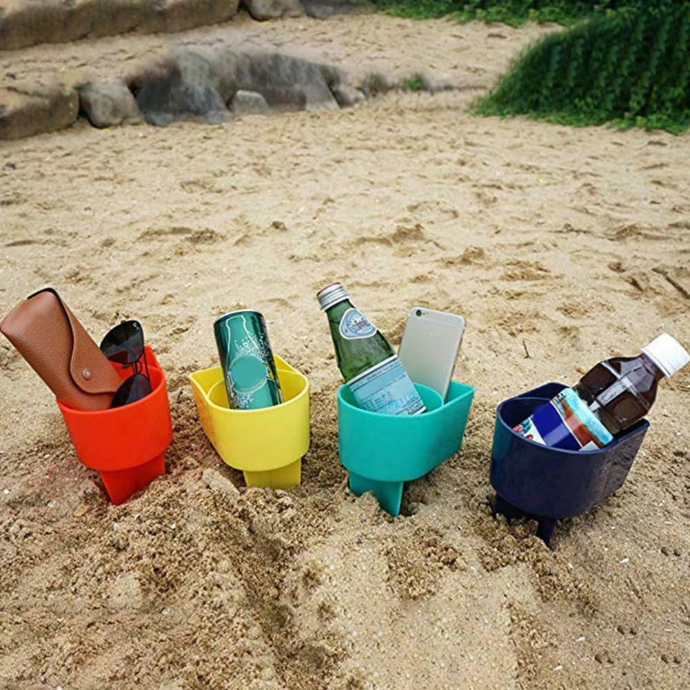 2 Pcs Beach Cup Holder Plastic Drink Stand Durable Sand Spike Portable For Outdoor Sand Beverage Holders For Any Drink RT99