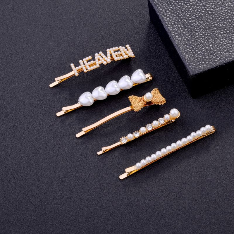 5Pcs/Set Korean Minimalist Bobby Pin Crochet Metal Bowknot Heaven Letters Women Hair Clip Sweet Imitation Pearl Jewelry Barrette