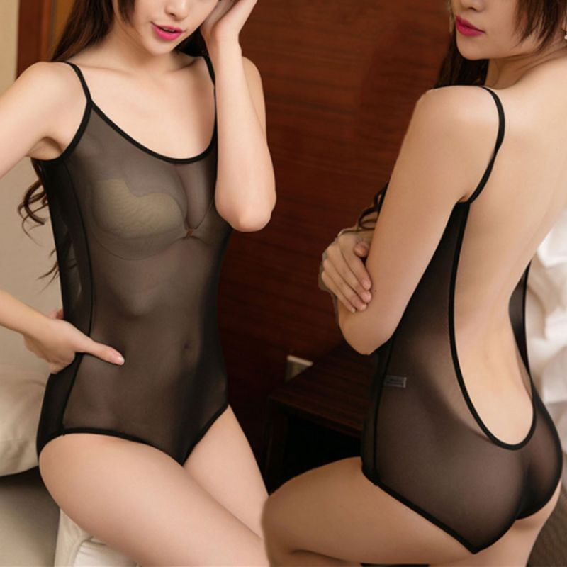 Womens Erotic Open Back See Through Mesh Lingerie Bodysuit Solid Color High Cut Cosplay Rompers Spaghetti Underwear Swimsuit