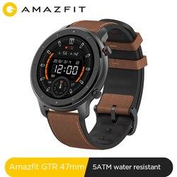 Глобальная версия, Новые смарт-часы Amazfit GTR, 47 мм, 5ATM, умные часы, 24 дня, батарея, управление музыкой, для Xiaomi, Android, IOS, телефона
