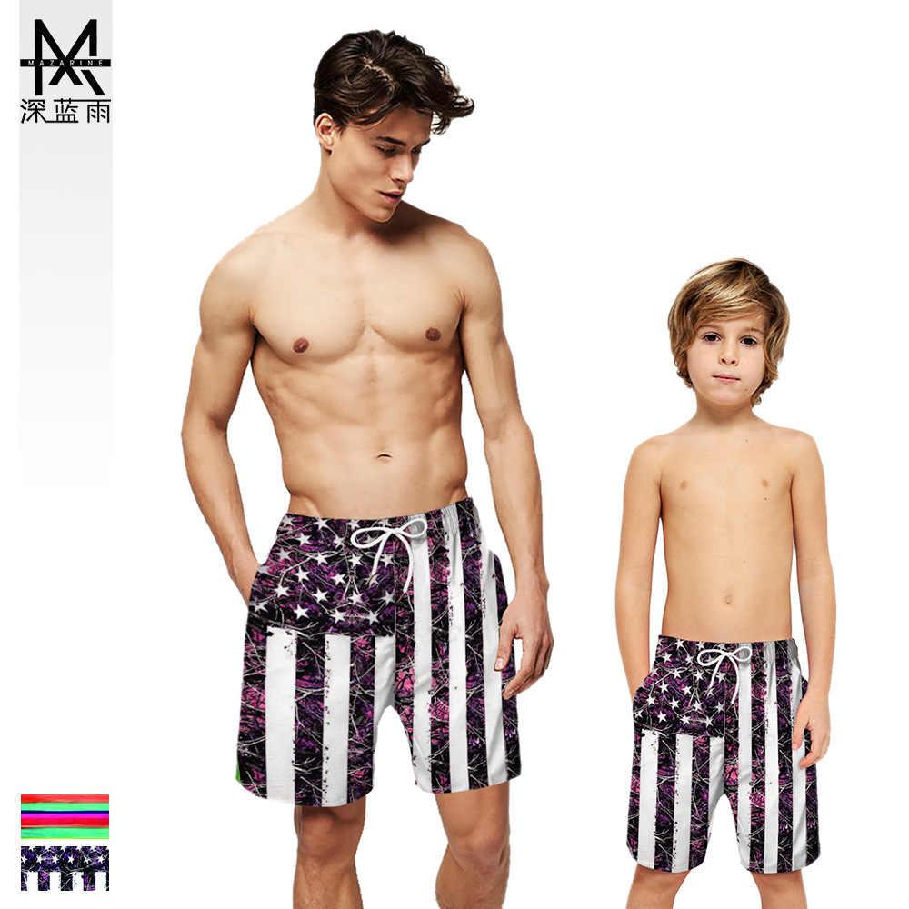 Férias viagem beeking novo estilo europa e américa pai-criança roupa de correspondência listras impressão digital verão 3d praia shorts