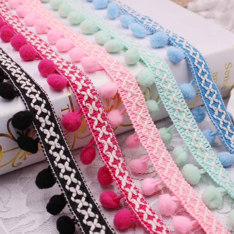 1 metre dantel şerit dikiş aksesuarları Pom püskül ponpon döşeme top Fringe nakış giyim dantel kumaş el yapımı aksesuar