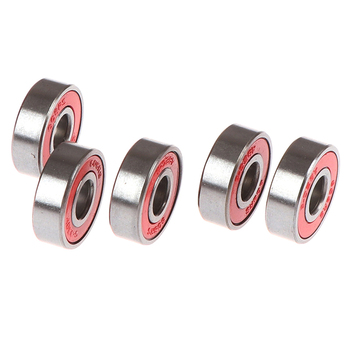 5Pcs 8x22x7mm Red ABEC-5 608-RS Skateboard Roller Sealed Ball Bearings image