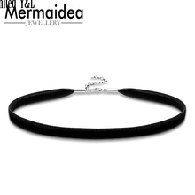 Black Velvet Collar Choker Necklaces Women Fit Beads Charm Fashion Jewelry Gift Length Adjustable Necklaces 2020 New Arrival