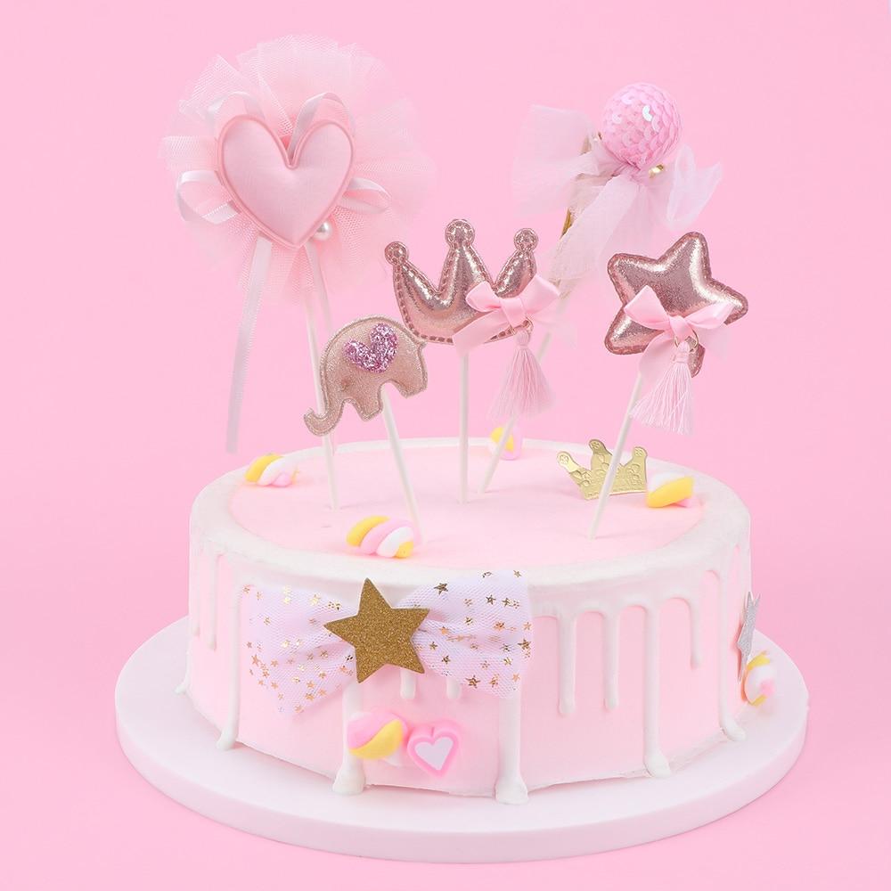 Swell Crown Star Heart Cake Topper Birthday Cake Decoration Baby Kids Funny Birthday Cards Online Necthendildamsfinfo