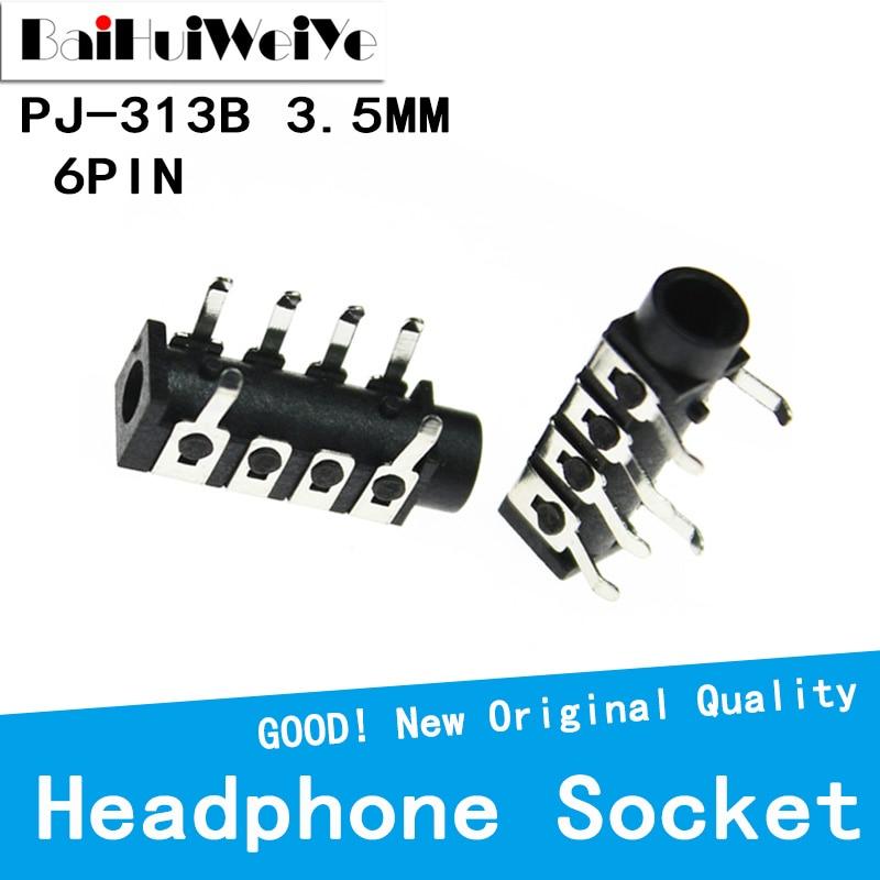 20PCS/LOT  PJ-313B PJ313B Female Audio Connector 3.5mm 6 contacts  stereo audio socket through hole right angle audio plug