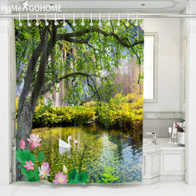 Lotus Pond Tree 3D HD Printed Shower Curtains Flowers Waterproof Moistureproof Bathroom Curtains Case tende Bohemia Bath Curtain(China)
