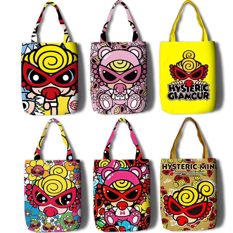 Japan Fun Hysteric Mini Print Casual Large Capacity Canvas Bag Female Shoulder Bag Fashion Harajuku Cartoon Messenger Bags