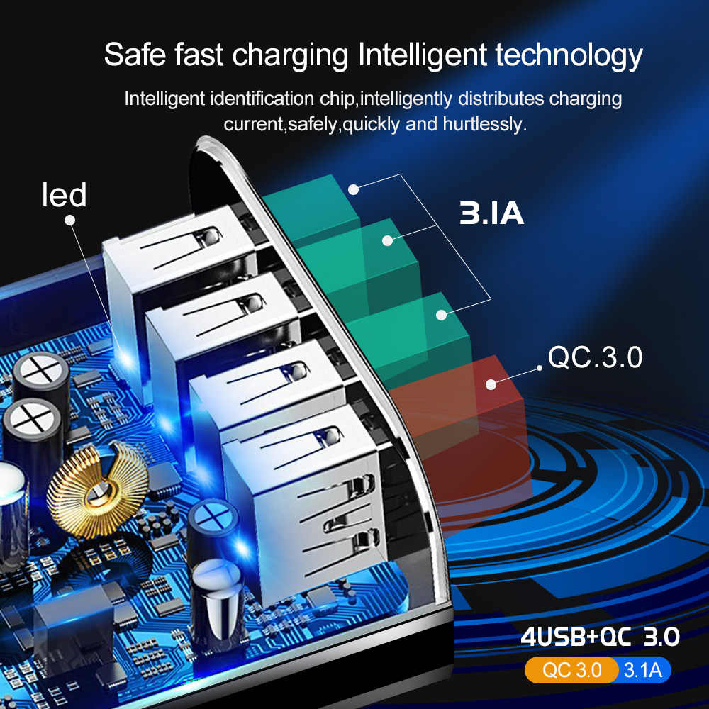 USLION 48 واط شاحن سريع 3.0 USB شاحن آيفون XS سامسونج هواوي P20 اللوحي QC 3.0 سريع الجدار شاحن الولايات المتحدة الاتحاد الأوروبي المملكة المتحدة محول القابس
