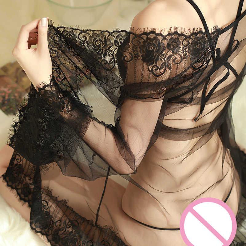 Vestido de pijama feminino conjunto de sono ver através sexy renda sleepwear quimono branco preto da dama de honra robes roupa interior lingerie com roupão
