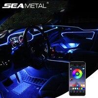 Luces de ambiente 13 en 1 para decoración de coche, lámpara con aplicación de fibra óptica de 6M/Control Remoto RGB LED, luz de neón de ambiente automático