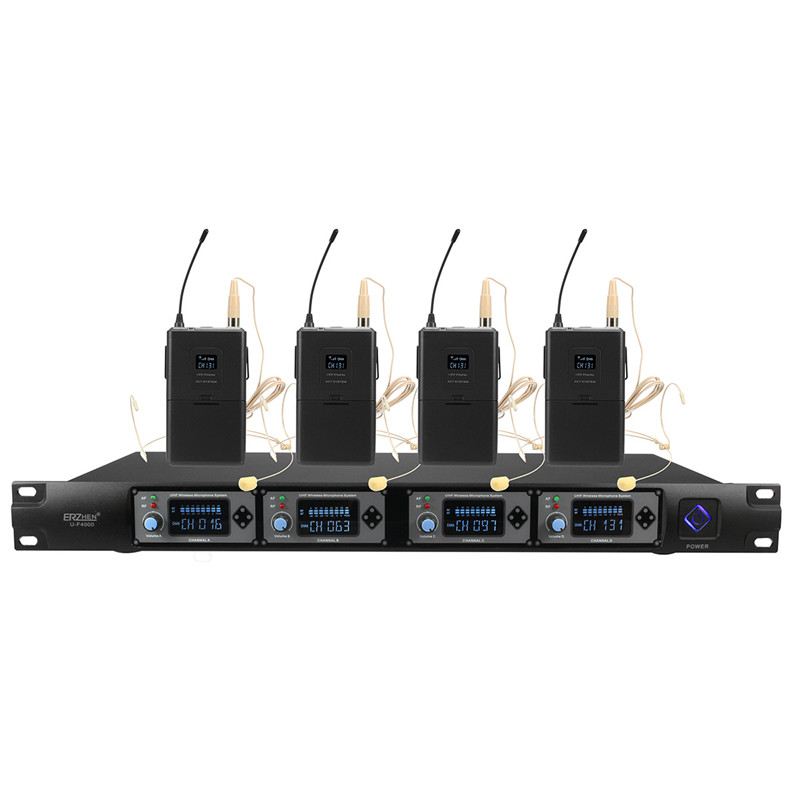LEORY 4 Channel UHF Stereo Wireless Monitor System Microphone System Digital  In-Ear Monitor System For  Performance