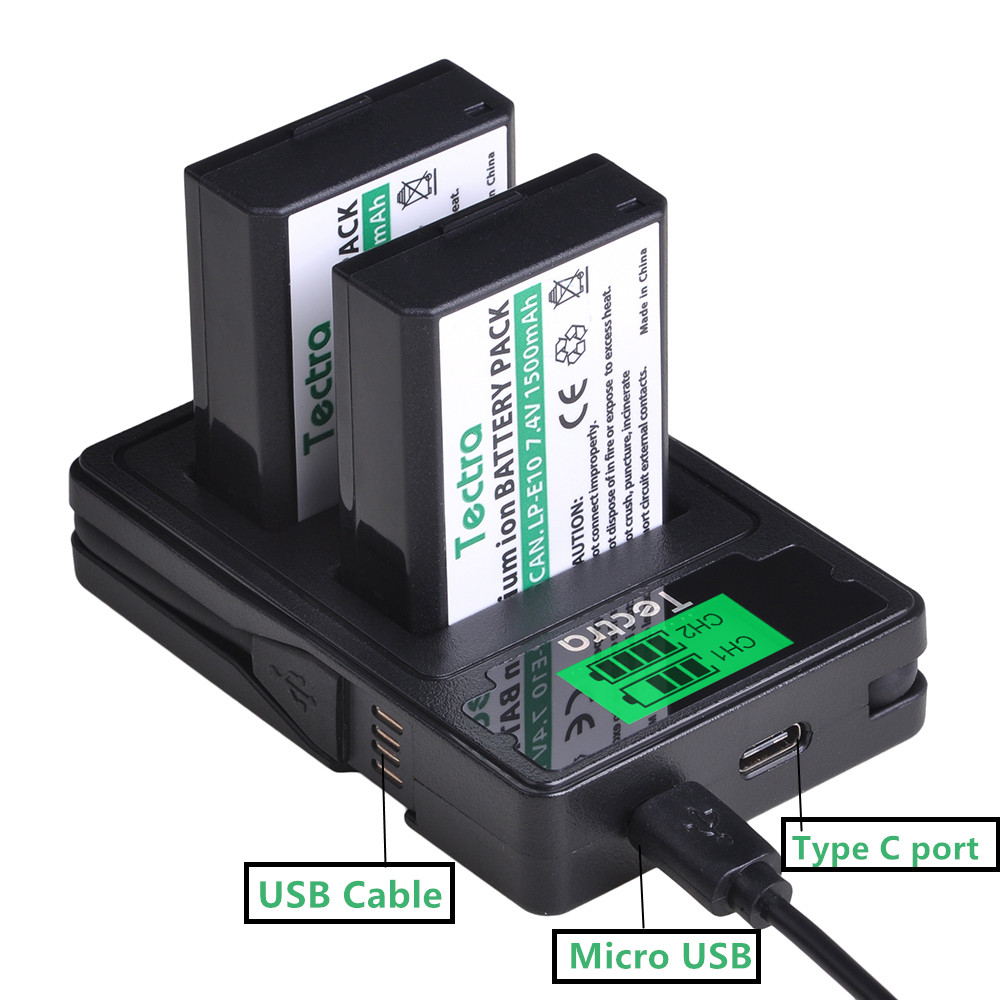 Tectra 1500mAh LP-E10 LP E10 LPE10 <font><b>Battery</b></font>+LCD Dual Charger with Type C Port for <font><b>Canon</b></font> <font><b>EOS</b></font> <font><b>1100D</b></font> 1200D 1300D 2000D Rebel T3 T5 image