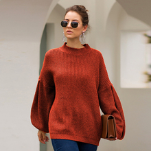 Autumn Winter Women Half High Collar Lantern Sleeves Baggy Casual Pullover Ladies Simple Cotton Solid Knitted Sweater Pull Femme plum perkins collar long lantern sleeves sweater